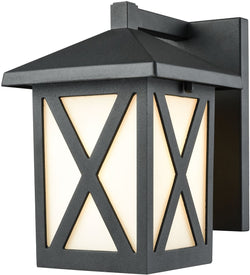 Elk Lighting Lawton 1-Light Outdoor Wall Sconce Matte Black/White Glass 452151