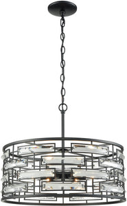 Elk Lighting Lineo 6-Light Chandelier Matte Black/Clear Crystal 461946