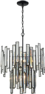 Elk Lighting Lineo 6-Light Chandelier Matte Black/Clear Crystal 461956