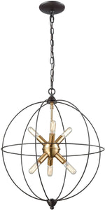Loftin 6-Light Chandelier Oil Rubbed Bronze/Satin Brass Accents