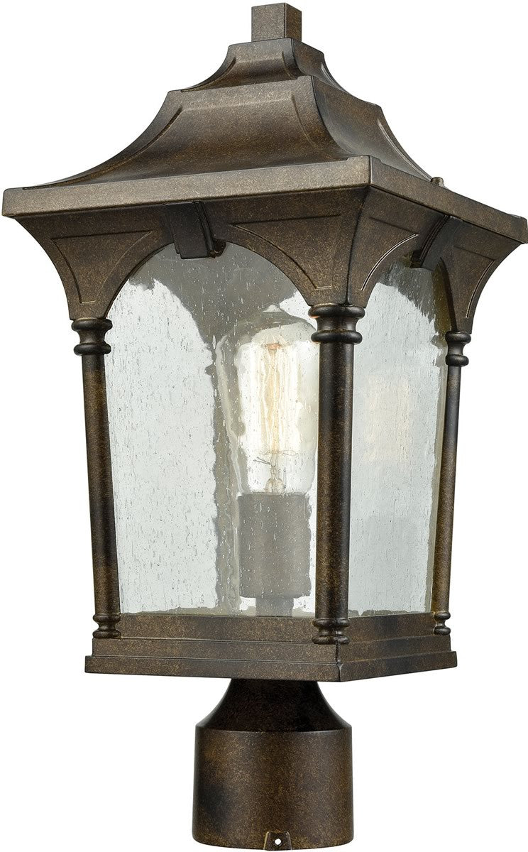 "17""H Loringdale 1-Light Outdoor Post Mount Hazelnut Bronze/Clear Seedy Glass"