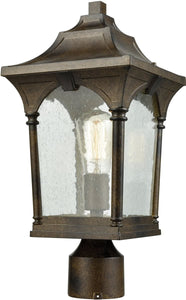 Elk Lighting Loringdale 1-Light Outdoor Post Mount Hazelnut Bronze/Clear Seedy Glass 450481