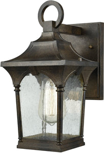 Elk Lighting Loringdale 1-Light Outdoor Wall Sconce Hazelnut Bronze/Clear Seedy Glass 450451