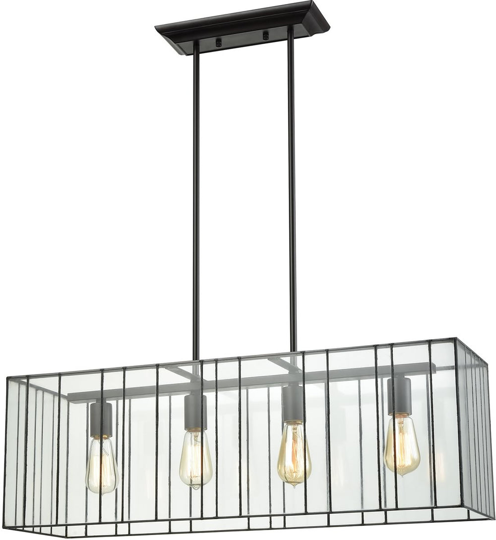 "31""W Lucian 4-Light Chandelier Oil Rubbed Bronze/Clear Glass"
