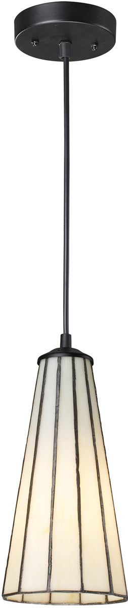 "5""w Lumino Tiffany 1-Light Pendant Comet White/Matte Black"
