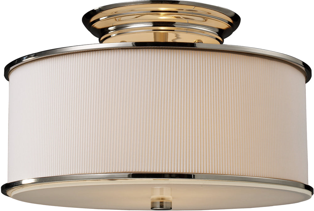 "15""W Lureau 2-Light Semi Flush Mount Polished Nickel with Cream Glass"