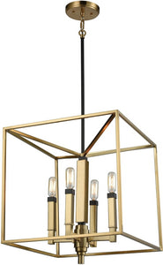 Mandeville 4-Light Chandelier Satin Brass/Oil Rubbed Bronze Accents