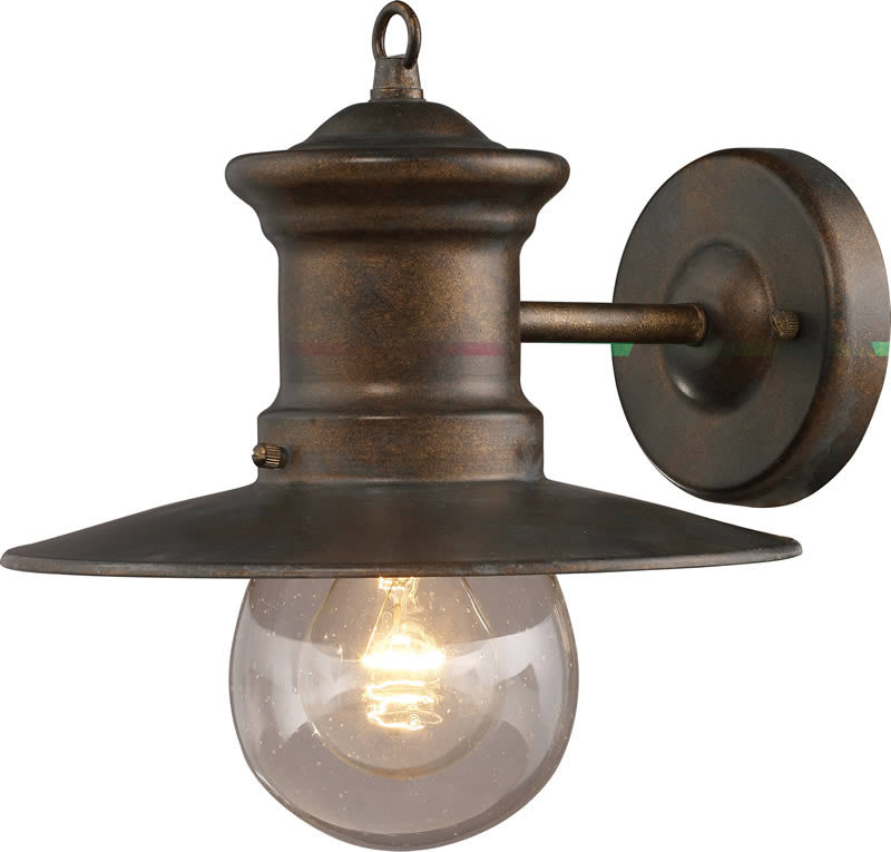 "10""h Maritime 1-Light Outdoor Wall Lantern Hazelnut Bronze/Clear Seeded"