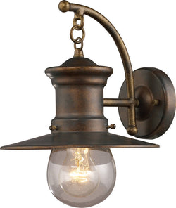 "12""h Maritime 1-Light Outdoor Wall Lantern Hazelnut Bronze/Clear Seeded"