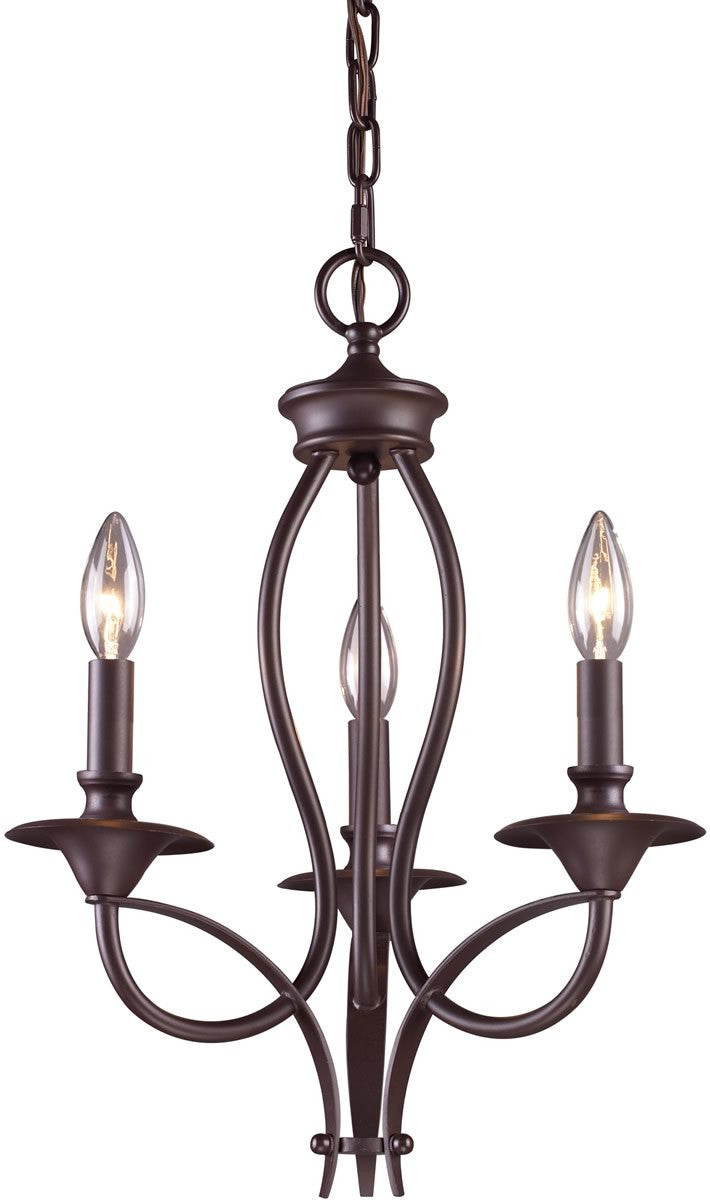 "14""w Medford 3-Light Chandelier Oiled Bronze"