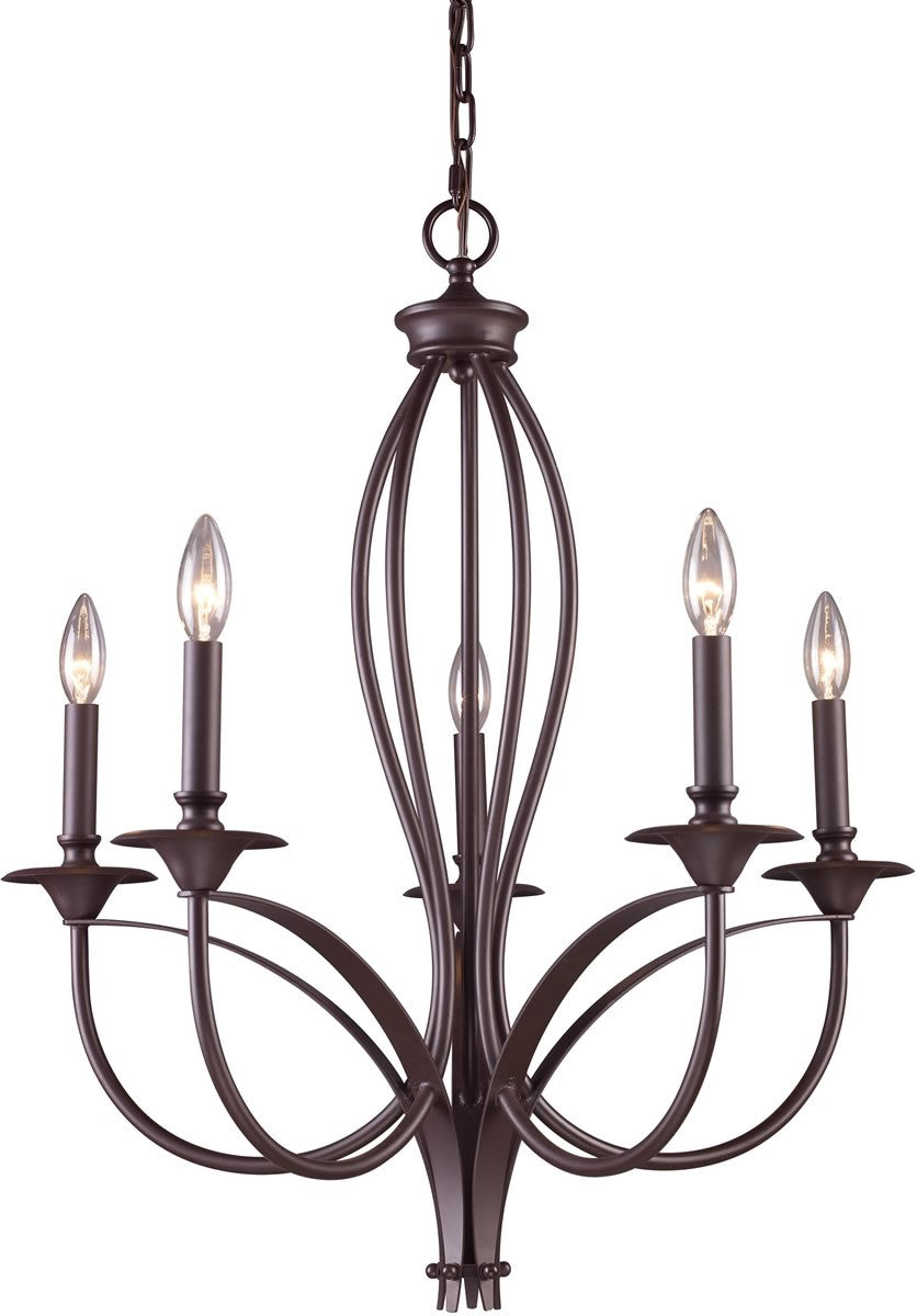 "26""W Medford 5-Light Chandelier Oiled Bronze"