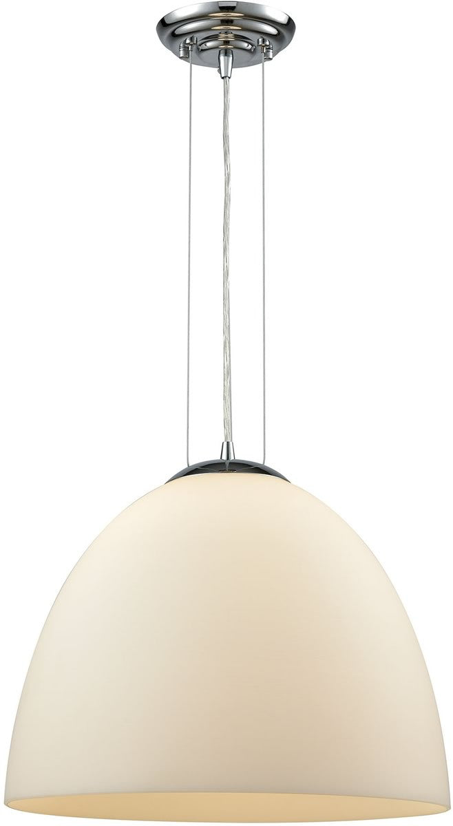 "15""W Merida 1-Light Pendant Polished Chrome/White Linen Glass"