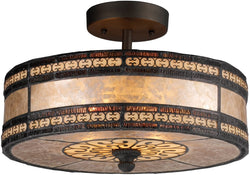 "14""w Mica Filigree 2-Light Semi Flush Tiffany Bronze"