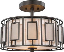 Minden 2-Light Semi Flush Tiffany Bronze/Mica/Frosted Seedy Glass