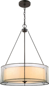 Elk Lighting Mirage 3-Light Chandelier Tiffany Bronze/Off-White Art Glass/Seedy Glass 702263