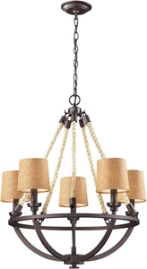 Elk Lighting Natural Rope 5-Light Chandelier Aged Bronze 63015-5