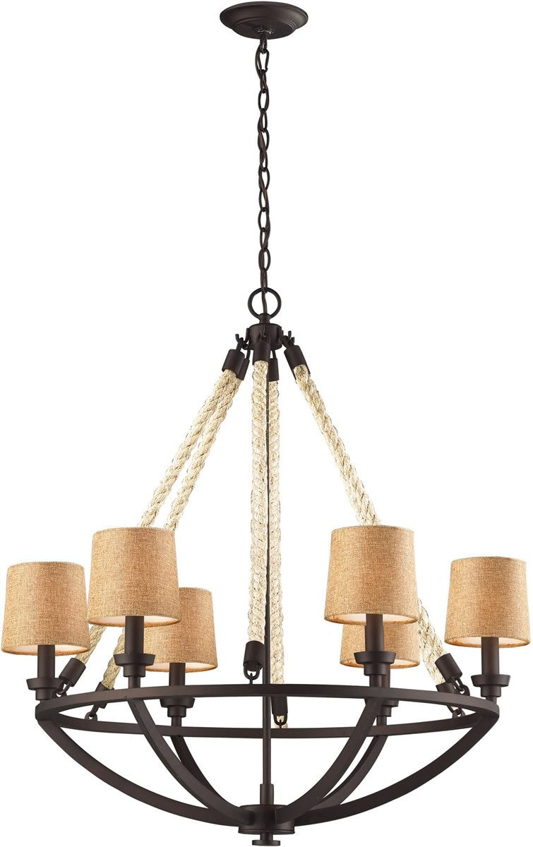 "30""W Natural Rope 6-Light Chandelier Aged Bronze"