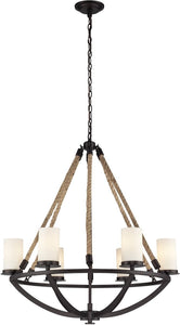 Elk Lighting Natural Rope 6 Light Chandelier Aged Bronze 630426