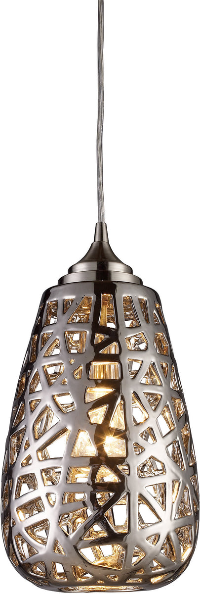 "8""w Nestor 1-Light Pendant Chrome with Cream Glass"