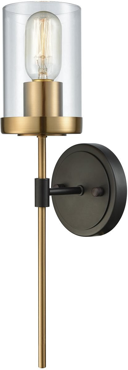 North haven 1 light wall sconce oil rubbed bronze satin brass accents