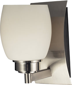 "5""w Northport 1-Light Bath Vanity Satin Nickel with White Glass"