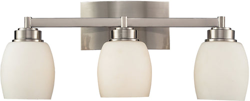 Elk Lighting Northport 3-Light Bath Vanity Satin Nickel with White Glass 171023