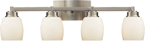 "28""w Northport 4-Light Bath Vanity Satin Nickel with White Glass"