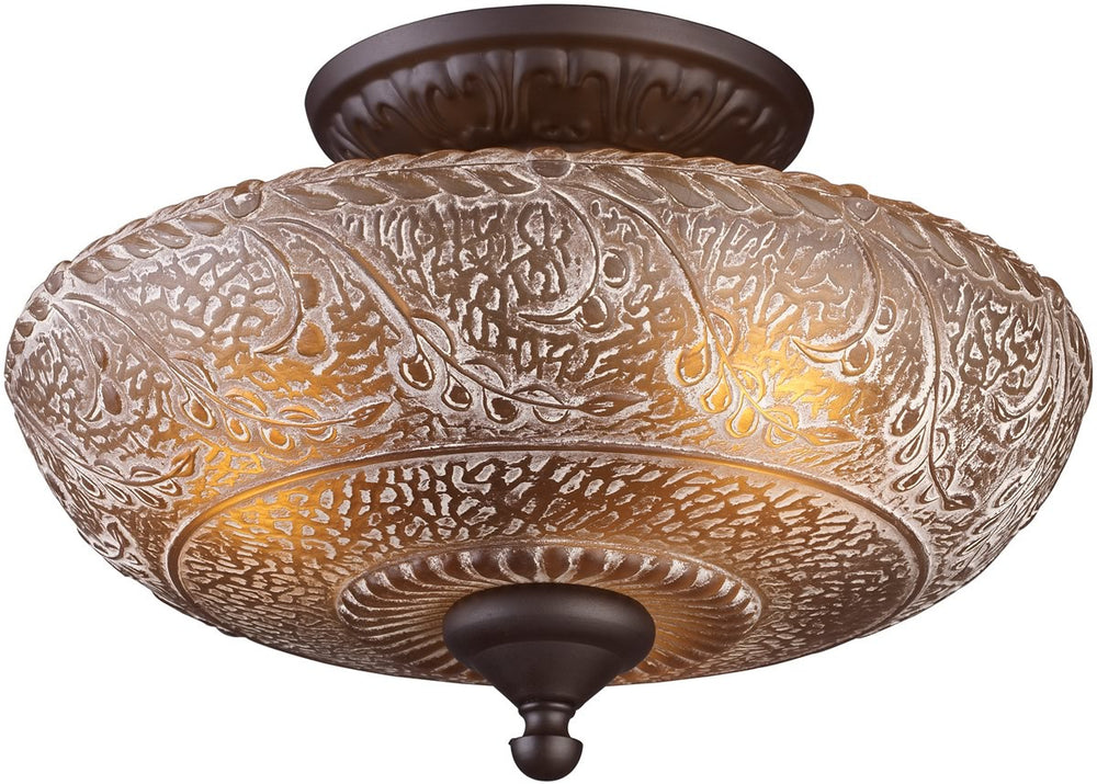 "14""w Norwich 3-Light Semi Flush Oiled Bronze"