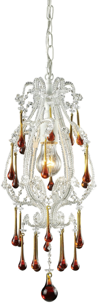 "8""w Opulence 1-Light Pendant Antique White with Amber Crystal Shade"
