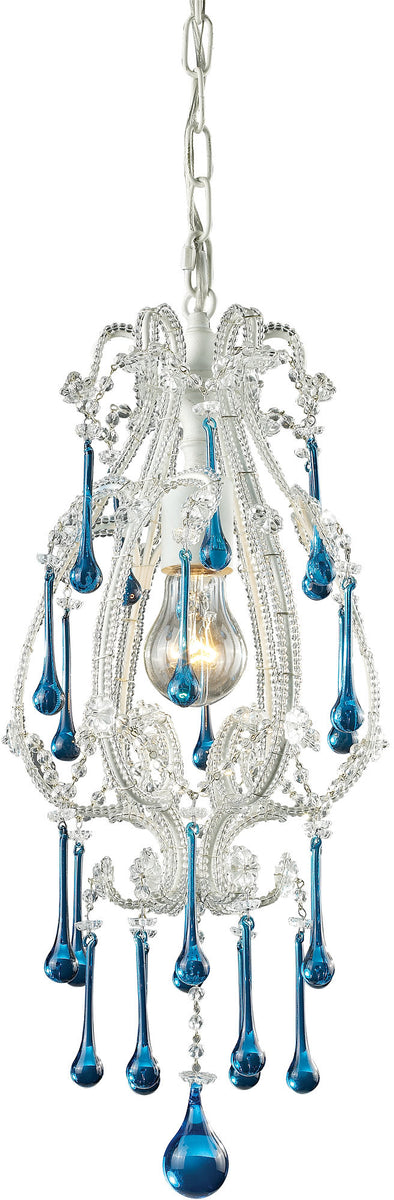 "8""W Opulence 1-Light Pendant Antique White with Aqua Crystal Shade"
