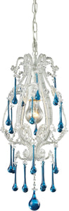 Elk Lighting Opulence 1-Light Pendant Antique White with Aqua Crystal Shade 120031AQ