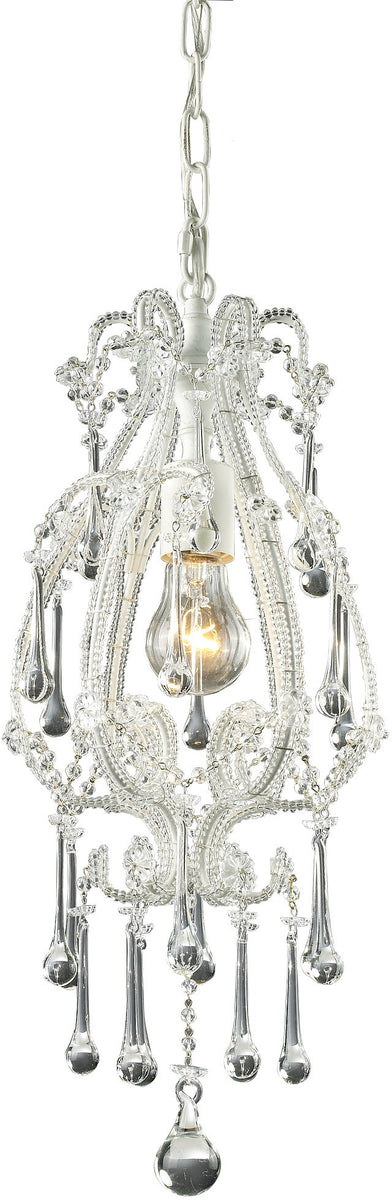 "8""W Opulence 1-Light Pendant Antique White with Clear Crystal Shade"