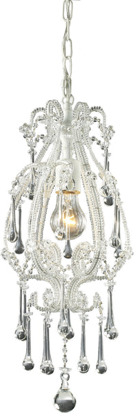Elk Lighting Opulence 1-Light Pendant Antique White with Clear Crystal Shade 120031CL