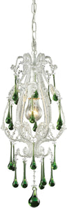 Elk Lighting Opulence 1-Light Pendant Antique White with Lime Crystal Shade 120031LM