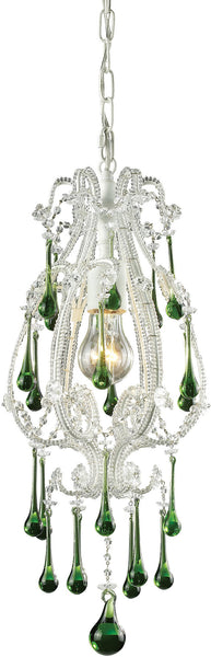 "8""w Opulence 1-Light Pendant Antique White with Lime Crystal Shade"