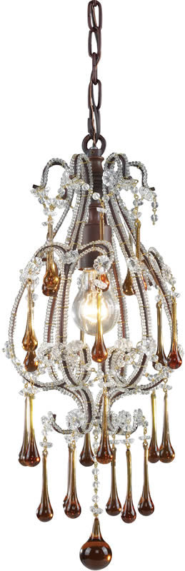 "8""w Opulence 1-Light Pendant Rust"