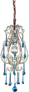 "8""w Opulence 1-Light Pendant Rust with Aqua Crystal Shade"