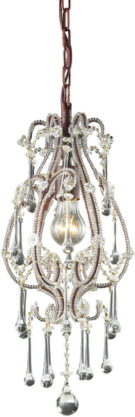 Elk Lighting Opulence 1-Light Pendant Rust with Clear Crystal Shade 120131CL