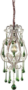 Elk Lighting Opulence 1-Light Pendant Rust with Lime Crystal Shade 120131LM