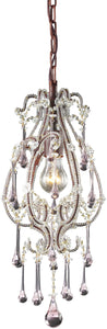Elk Lighting Opulence 1-Light Pendant Rust with Rose Crystal Shade 120131RS