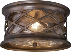 "12""w Burlington Gate 2-Light Outdoor Flush Mount Hazelnut Bronze with Transparent Glass"
