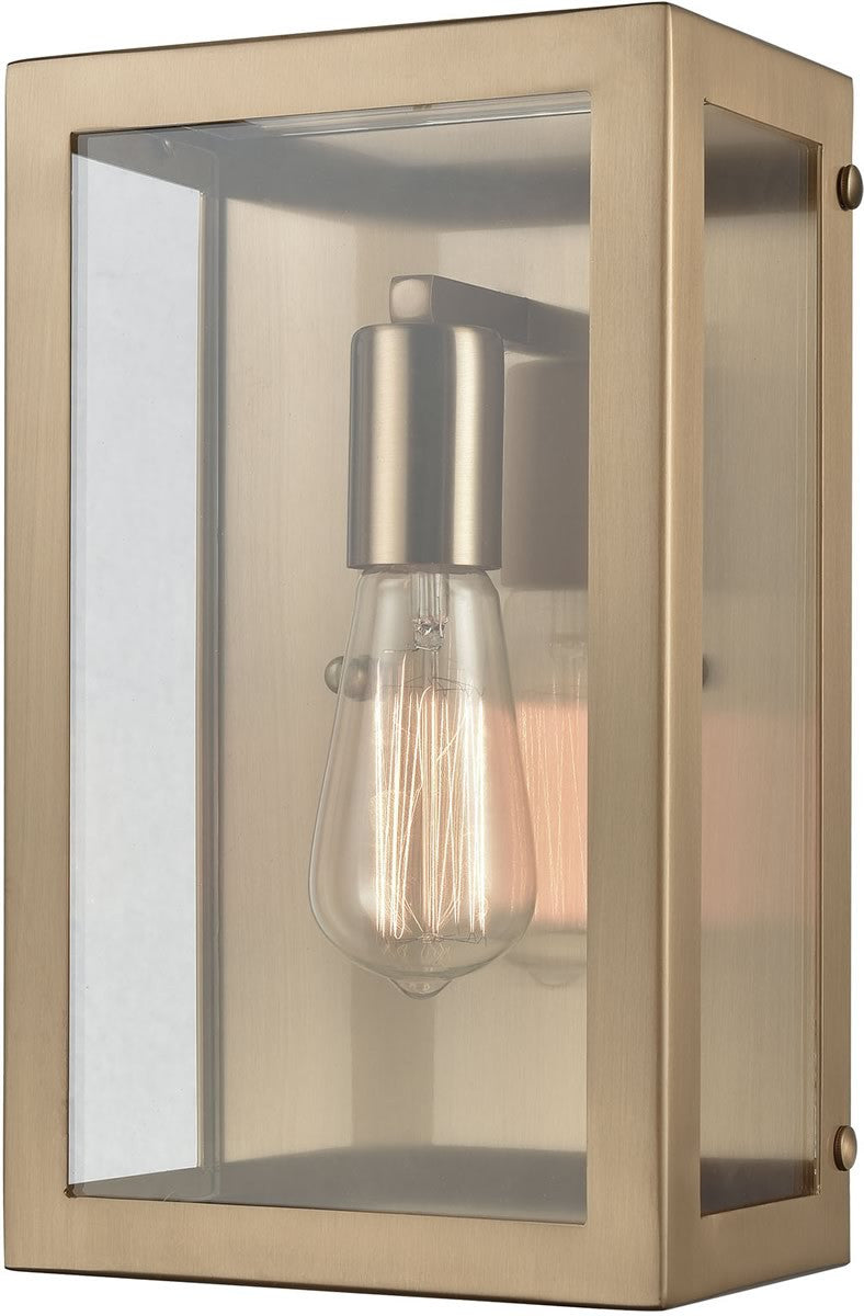"7""W Parameters 1-Light Sconce Satin Brass/Clear Glass"