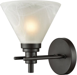 Elk Lighting Pemberton 1-Light Vanity Oil Rubbed Bronze/White Marbleized Glass 124001