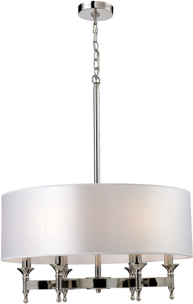 "24""w Pembroke 6-Light Chandelier Polished Nickel with White Glass"