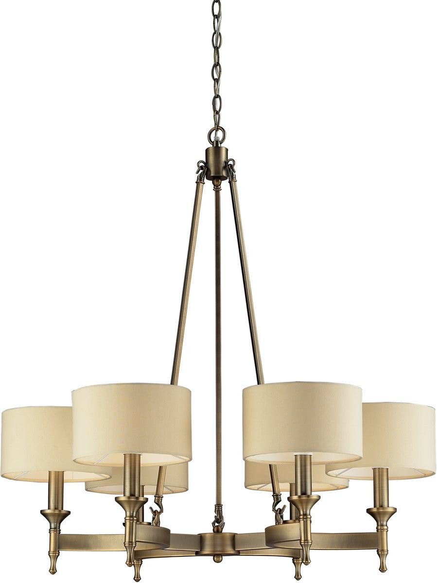 "31""W Pembroke 6-Light Chandelier Antique Brass"