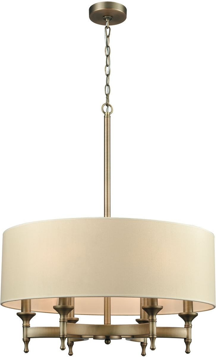 "24""W Pembroke 6-Light Chandelier Brushed Antique Brass/A-Light Tan Fabric Shade"