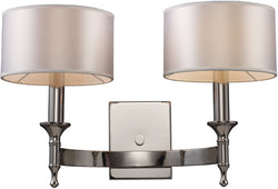 "19""w Pembroke 2-Light Sconce Polished Nickel"