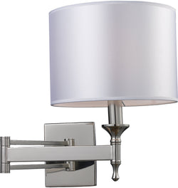 Elk Lighting Pembroke 1-Light Swing Arm Wall Sconce Polished Nickel with White Glass 101601