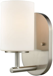Pemlico 1-Light Vanity Satin Nickel/White Glass