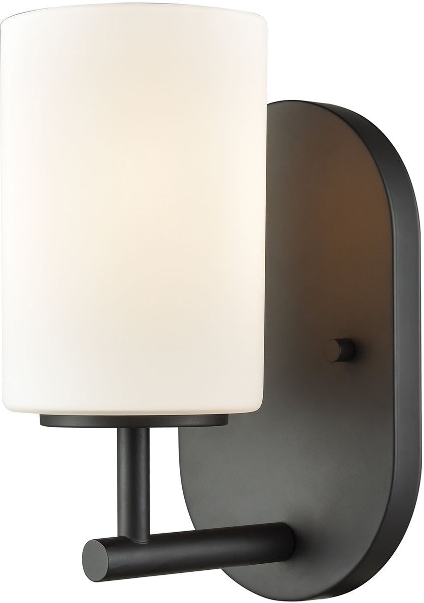 "5""W Pemlico 1-Light Vanity Oil Rubbed Bronze/White Glass"